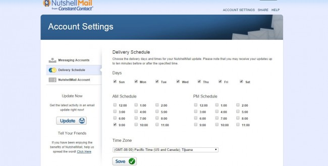 Nutshell Mail Delivery Schedule