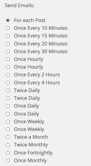 Subscribe2 email frequency checlist