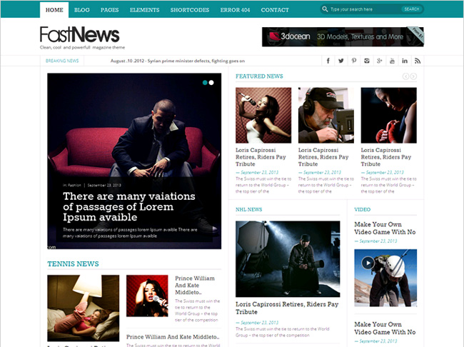 Fast News Free WordPress Theme