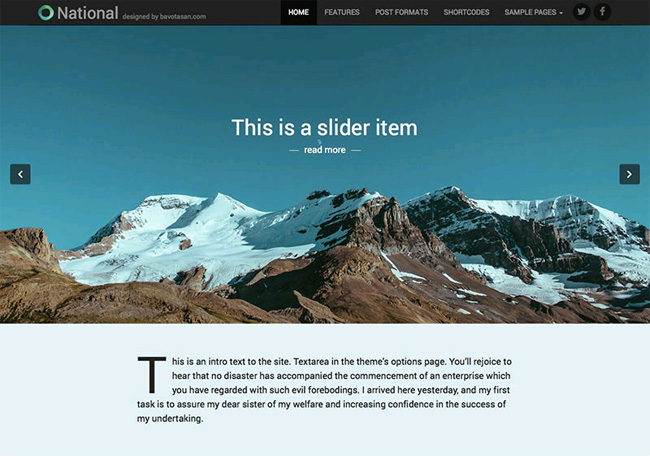 National Free WordPress Theme