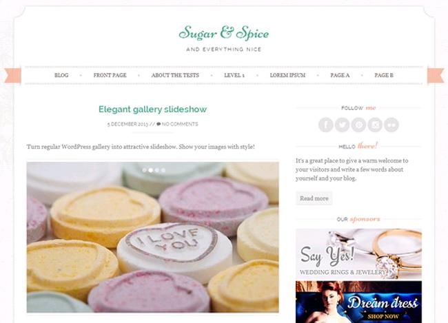 Sugar & Spice Free WordPress Theme