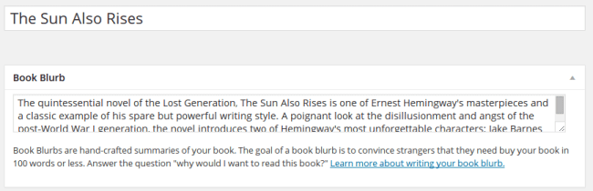 Title and book blurb