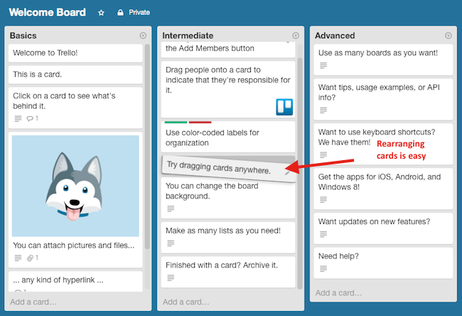 Moving Cards in Trello