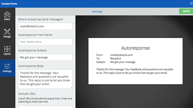 SumoMe Contact Form-Screenshot