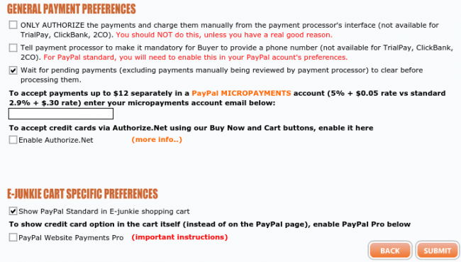 General Payment Preferences