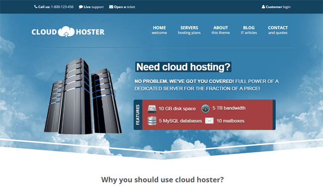 Cloud Hoster WordPress Theme