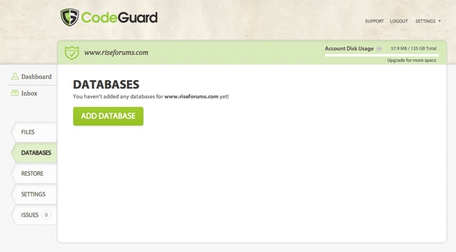 Add a Database to CodeGuard