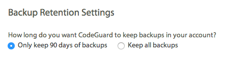 Backup Retention Settings