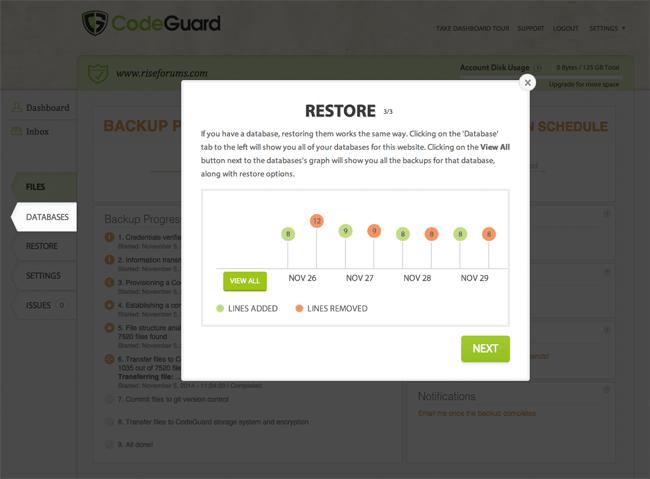 CodeGuard Restore Process