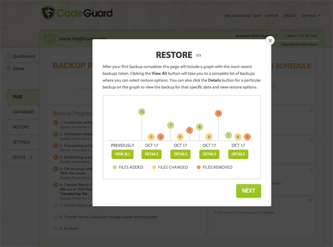 CodeGuard Restore Process