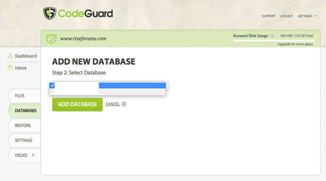 Select Your Database
