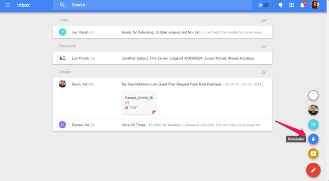 Inbox: Create Reminders