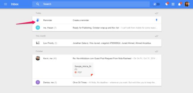 Inbox: Reminders