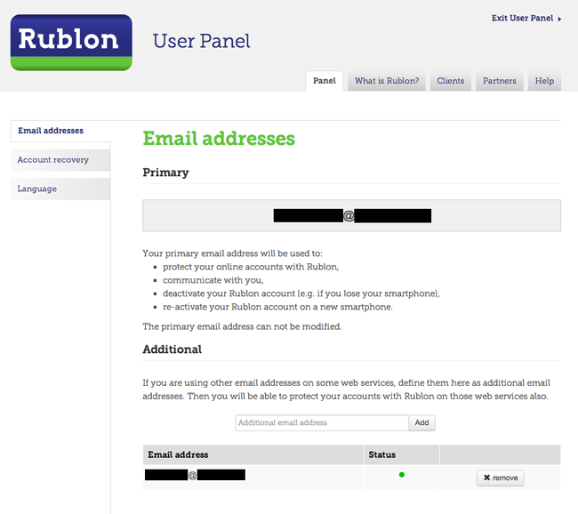 The Rublon User Panel