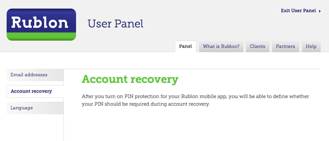 Account Recovery Using Rublon