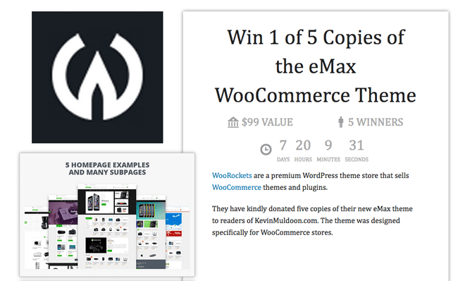 Win 1 of 5 Copies of the eMax WooCommerce Theme