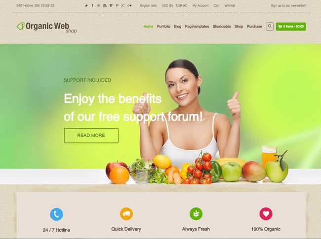 Organic Web Shop WordPress Theme