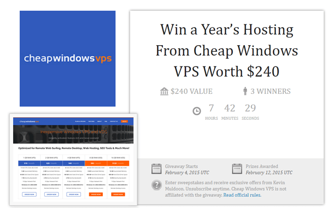 Win a Year's Hosting From Cheap Windows VPS Worth $240