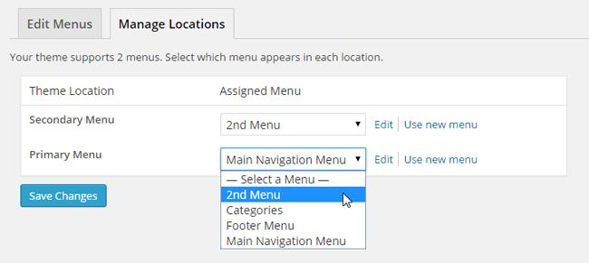 WordPress Menu Locations