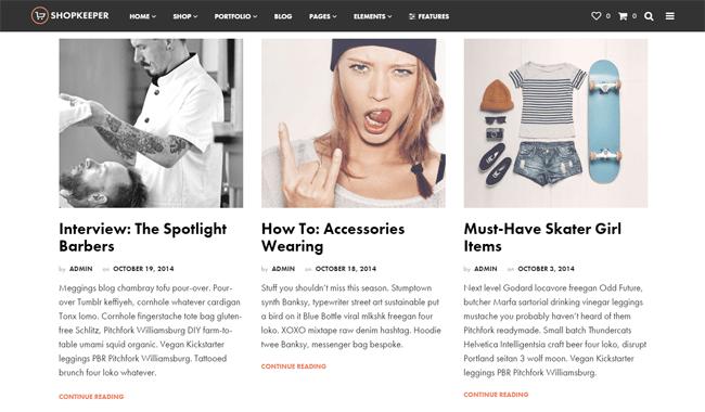 Shopkeeper Blog Design