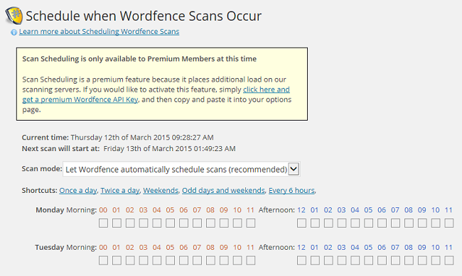 Wordfence Security scan schedule - paid offering