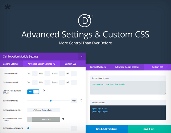 Advanced Module Settings & Custom CCS