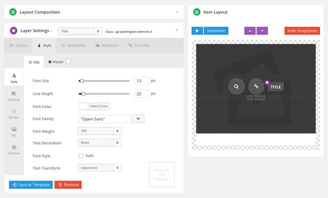 Essential Grid Visual Skin Editor