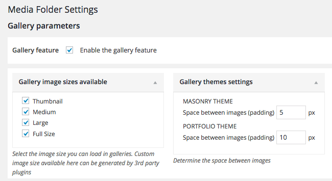 WP Media Folder Gallery Settings