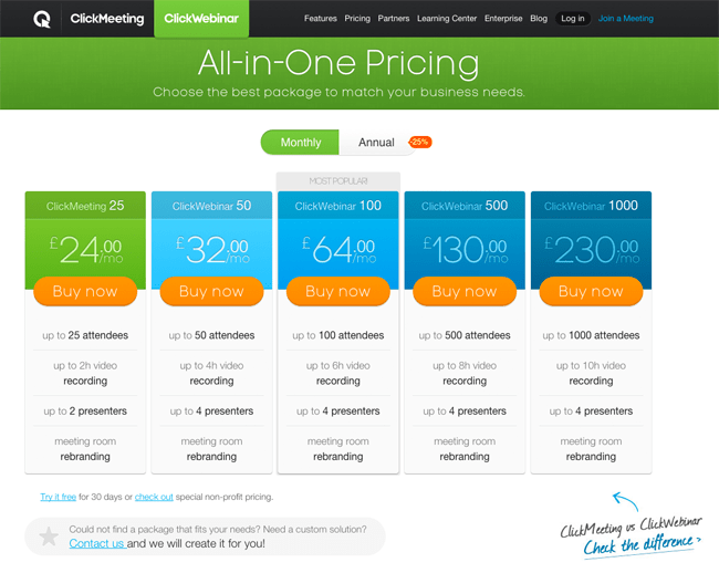 ClickWebinar Pricing