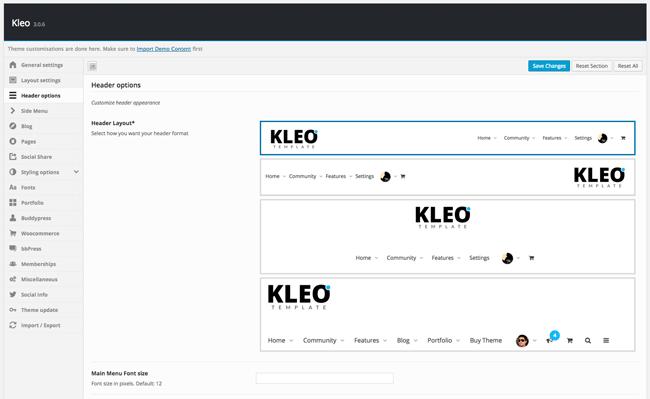 KLEO Header Options