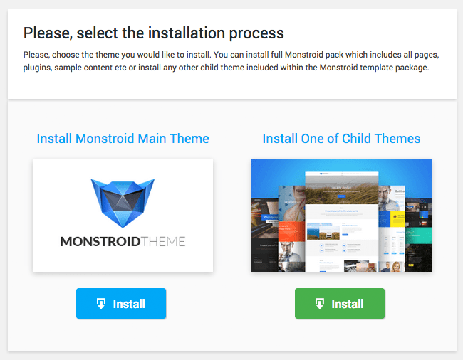 Select Installation Process