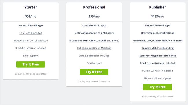 Mobiloud Pricing