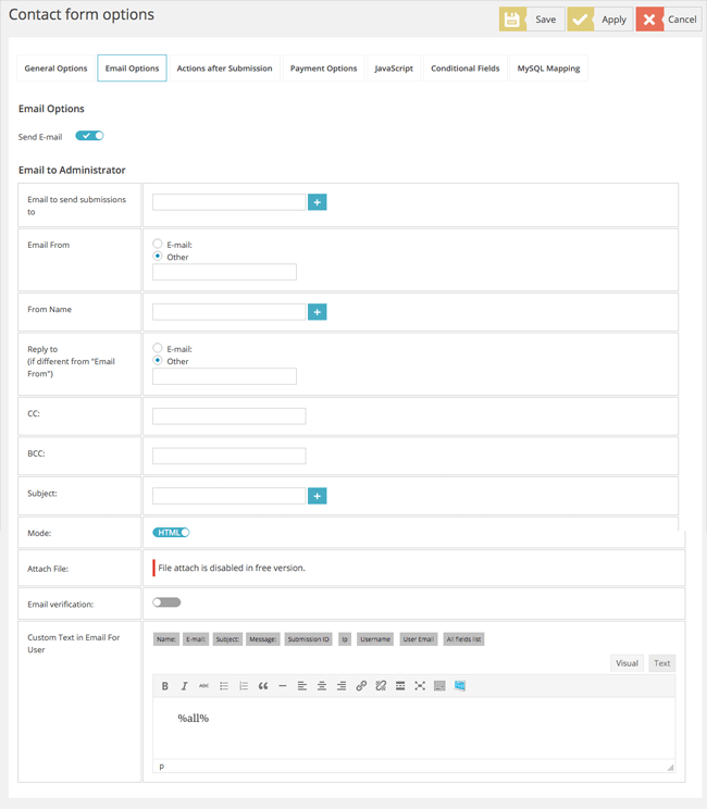 Form Email Options