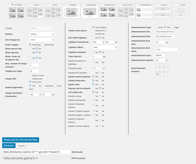 Generate Gallery Shortcode