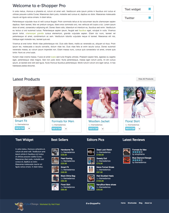 eShopper Pro Home Page