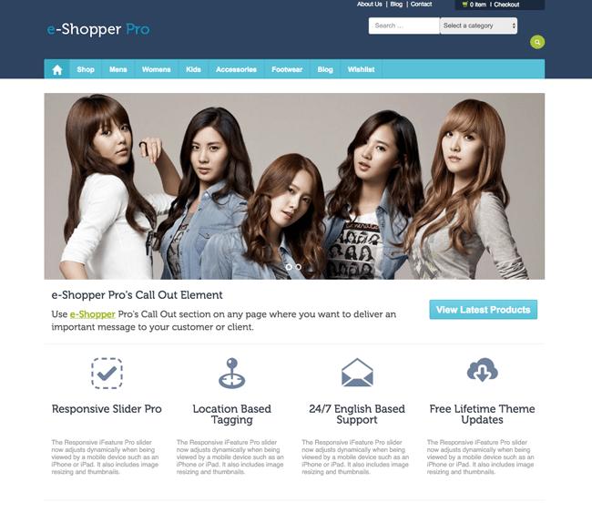 eShopper Pro Home Page Slider