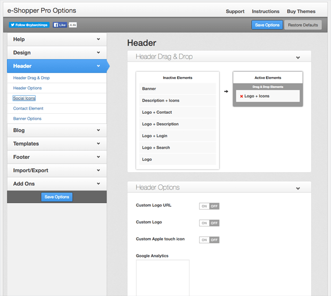 eShopper Pro Header Options
