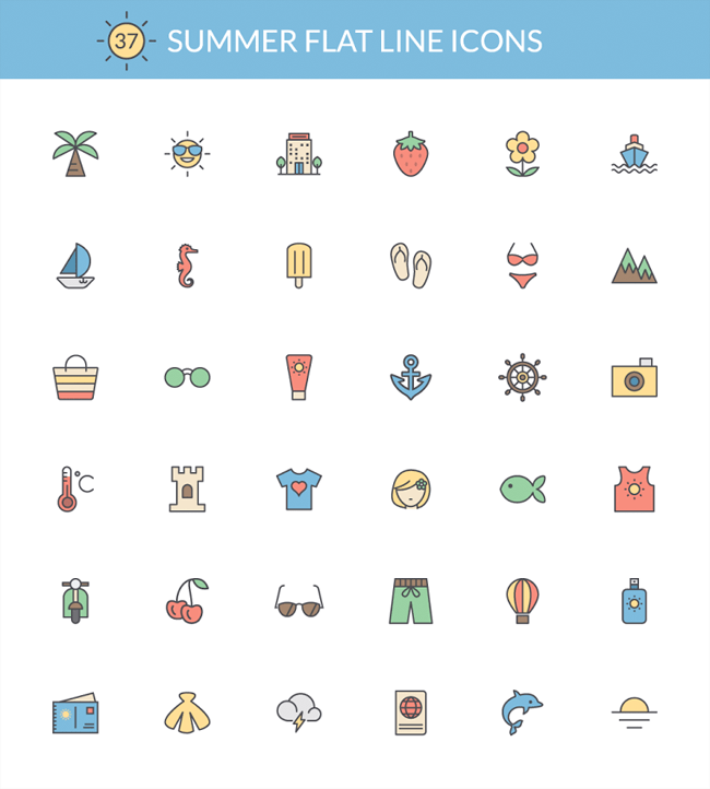 Summer Flat Line Icons