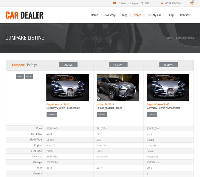 Car Dealer Car Comparison