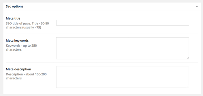 Page SEO Options
