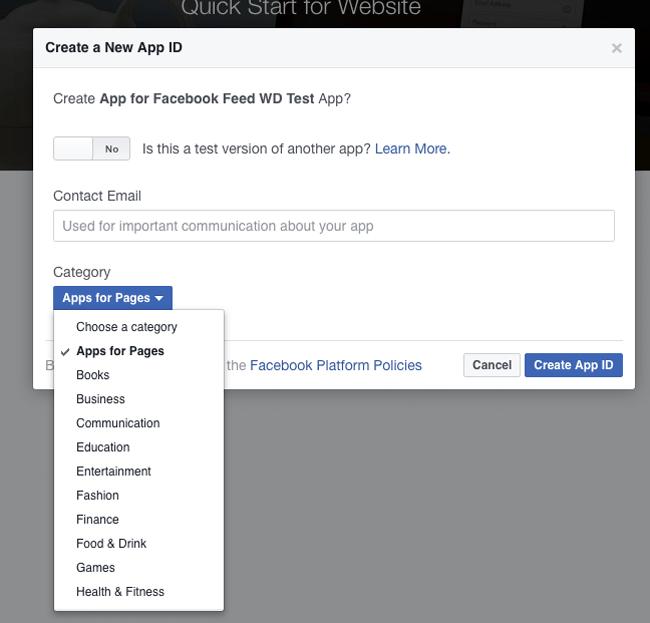 Create New Facebook App ID