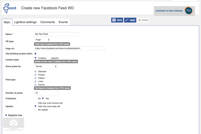 Create New Facebook Feed WD