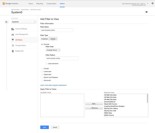 Add Filter to Google Analytics