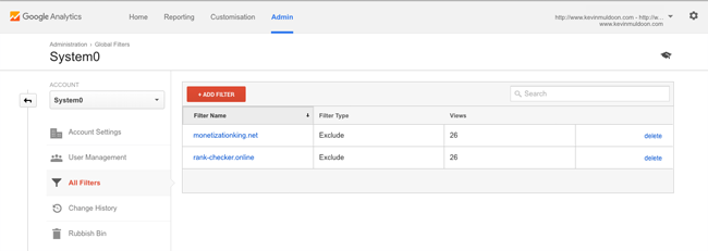 Google Analytics Filter List