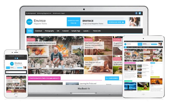 Envince Free Magazine WordPress Theme