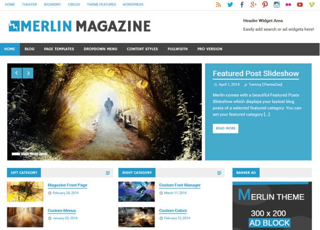 Merlin Free Magazine WordPress Themes