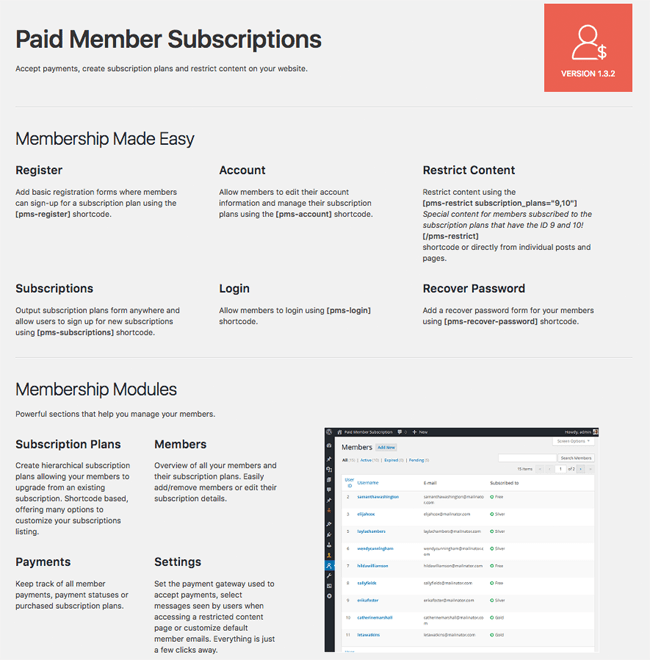 Basic Information of Paid Member Subscriptions