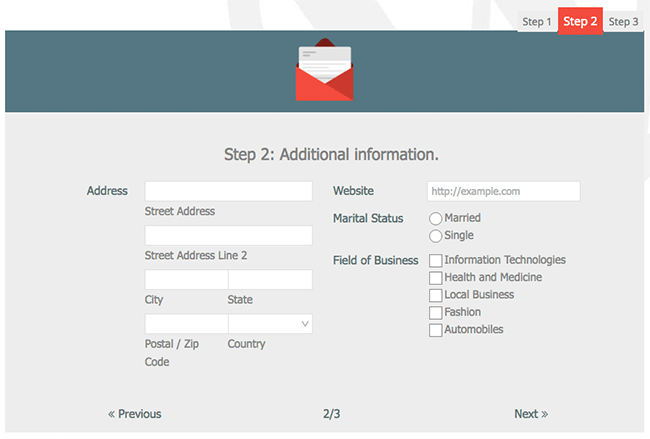 Multi-Tab Sign Up Form with Payment Field