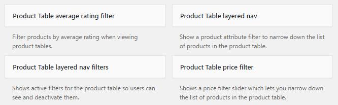 WooCommerce Product Table Widgets