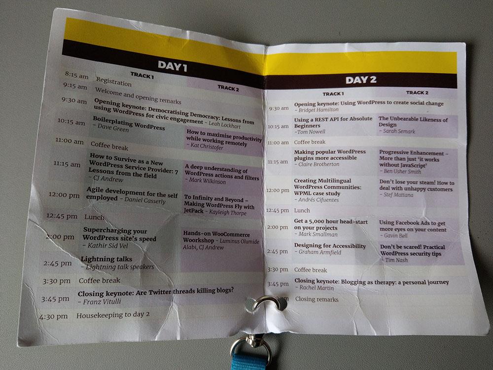 The Talks at WordCamp Edinburgh 2017